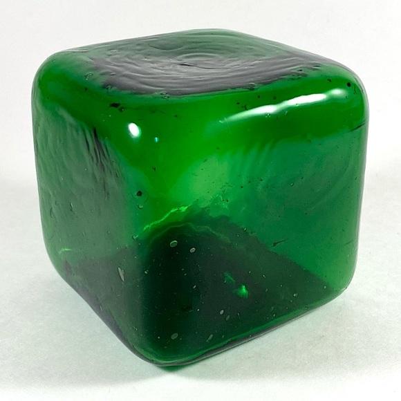 Vintage emerald green blown art glass cube